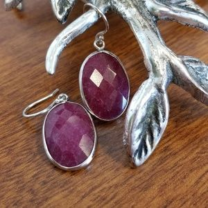 Jewelry - Indian genuine ruby and silver earrings